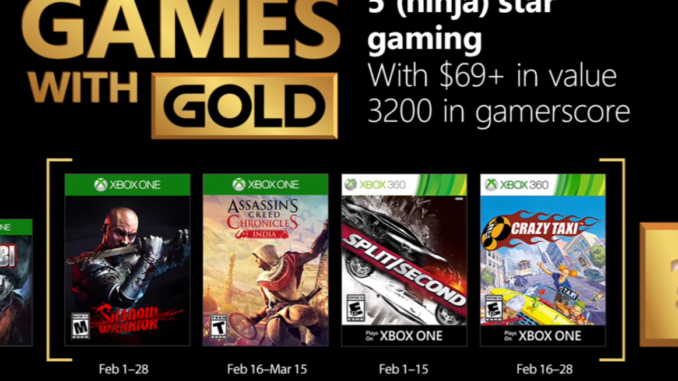 Xbox Games with Gold Feb 2018